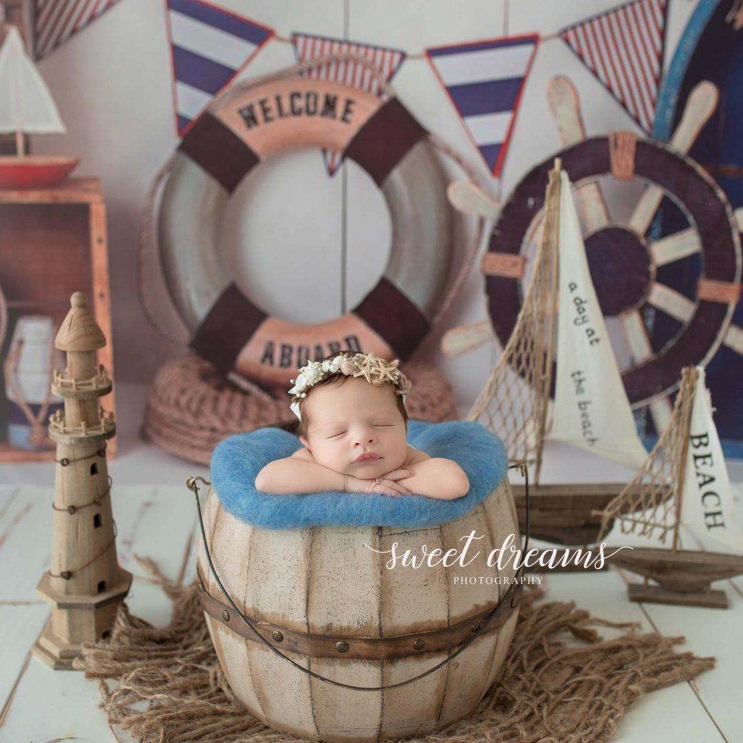 Deniz Temalı Yenidoğan Bebek Fotoğrafları